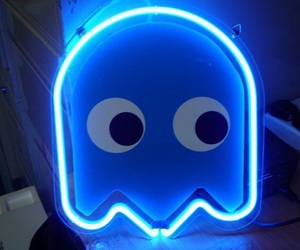blue, pacman, and neon blue image