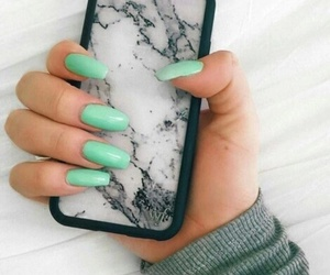 fake nails, mint green, and tumblr image