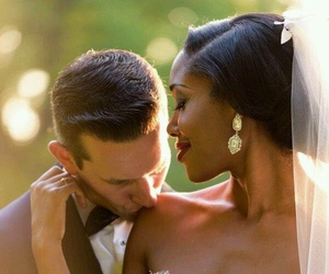 bwwm, interracial, and wedding image
