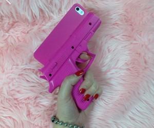 pink, iphone, and gun image