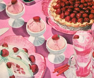 pink, strawberry, and retro image