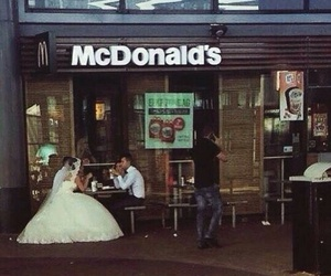 wedding, McDonalds, and couple image
