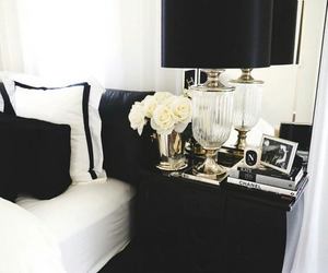 black, white, and bedroom image