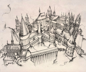 hogwarts, harry potter, and art image