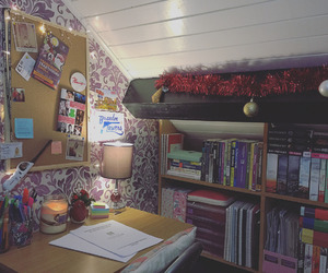 bedroom, decoration, and book image