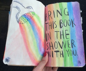journal, rainbow, and shower image