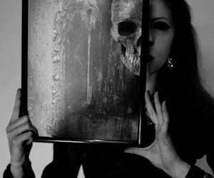 skull, black and white, and dark image