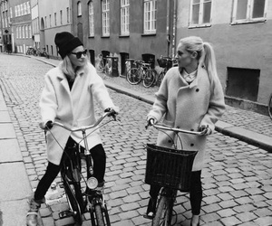 friends, girl, and bike image