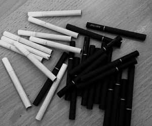 cigarette, black, and smoke image