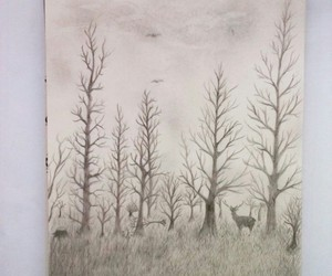 art, sketchbook, and trees image