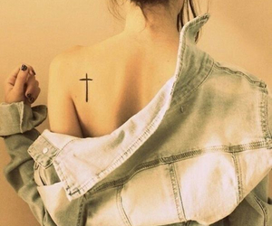 cross, Tattoos, and female image