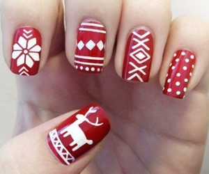 nail, red, and reindeer image