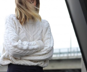 sweater, outfit, and blonde image