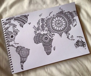 world, drawing, and art image
