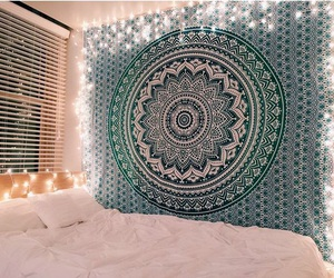 bedroom, lights, and cute image