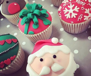 christmas, cupcake, and santa image