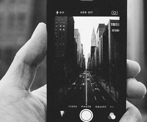 iphone, black and white, and city image