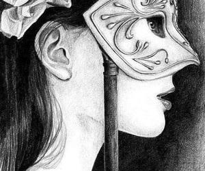 drawing, girl, and mask image