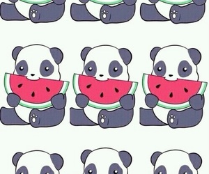 panda, wallpaper, and watermelon image