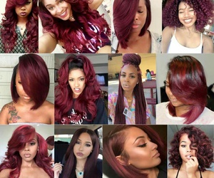 hair, burgundy, and red image