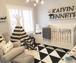 black and white, crib, and decor image