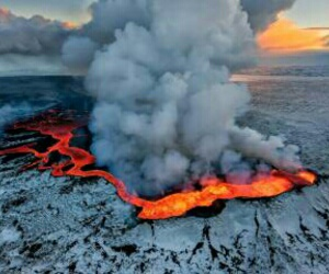 nature, iceland, and eruption image