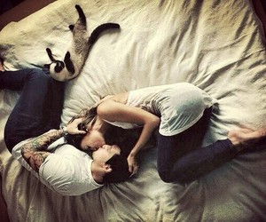 love, couple, and cat image