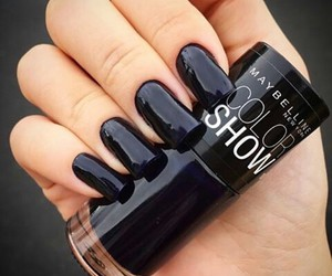 black, black nails, and Maybelline image