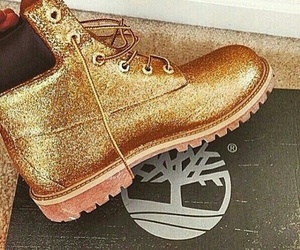 shoes, gold, and timberland image