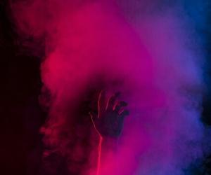 hand, smoke, and blue image