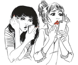 girl, draw, and friends image