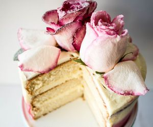 rose, cake, and food image