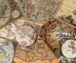 old maps, digital collage, and vintage maps image