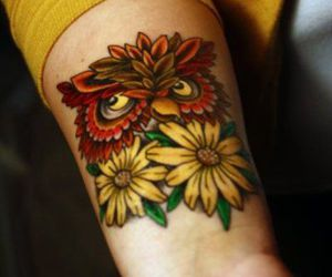 owl, tattoo, and flowers image