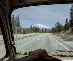 car, mountain, and road image
