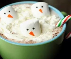 christmas, snowman, and hot chocolate image