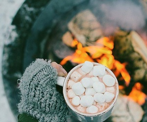 winter, fire, and autumn image