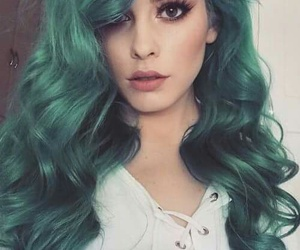 girl, green hair, and hairstyle image