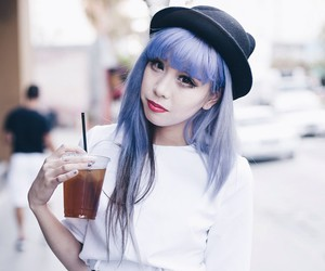 fashion, purple hair, and style image