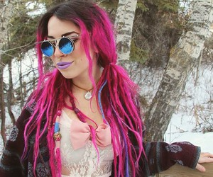 dreads and pink hair image