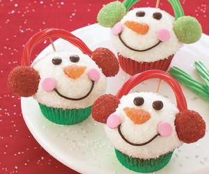 cupcake, christmas, and snowman image