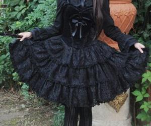 black, lolita, and gothic lolita image