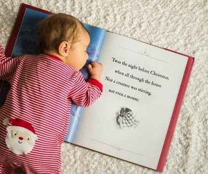 baby, christmas, and book image