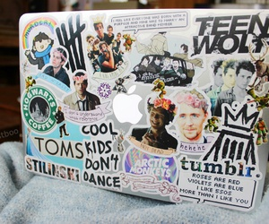 stickers, cool, and laptop image
