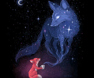 fox, night, and art image