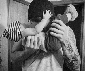 baby, tattoo, and dad image