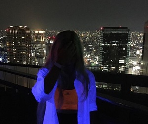 girl, city, and neon image