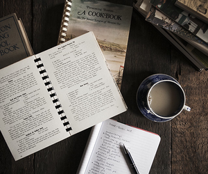 note, book, and coffee image