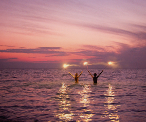 sea, sunset, and summer image