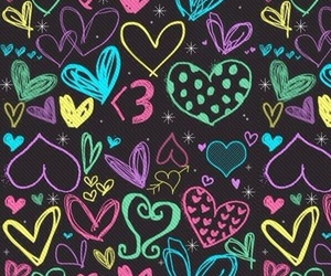 wallpaper, heart, and colorful image